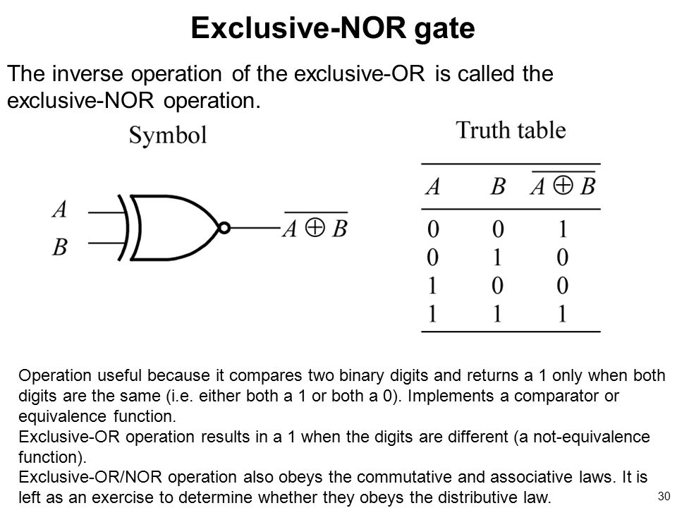 Exclusive-NOR gate The inverse operation of the exclusive-OR is called the exclusive-NOR operation.