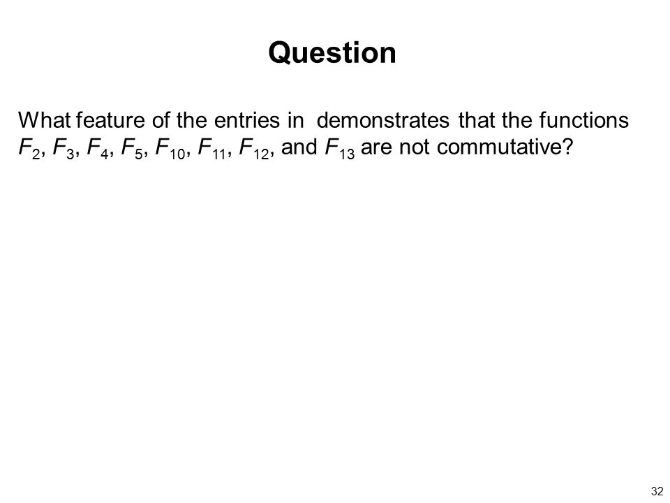 Question What feature of the entries in demonstrates that the functions F2, F3, F4, F5, F10, F11, F12, and F13 are not commutative