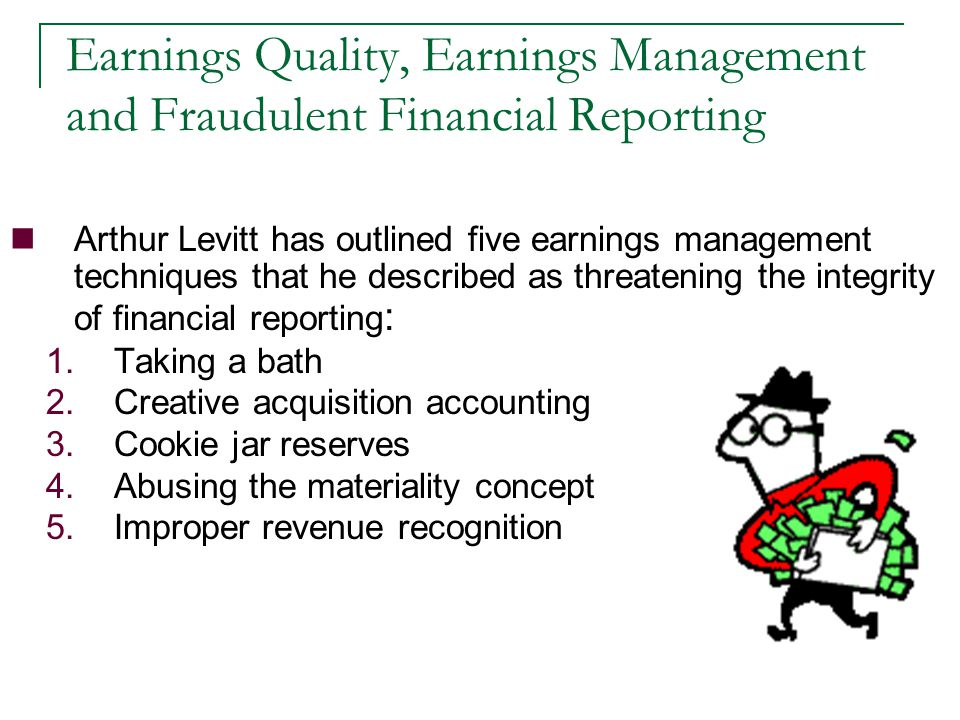 conservative recognition or cookie jar reserves Revenue- related financial statement frauds chapter 12 a julien hachet 09/09/2013 1  cookie jar » reserves in 1996 forbidden by the sec, to simulate a rapid .