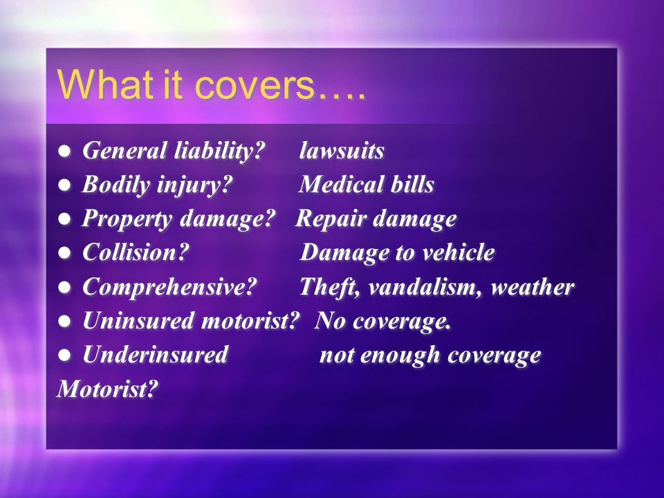 Chapter 14 insurance protection against large financial for What is uninsured motor vehicle coverage