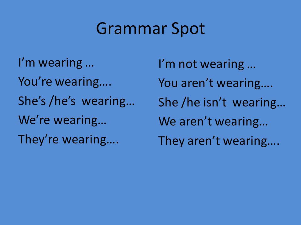 Grammar Spot I'm wearing … You're wearing…. She's /he's wearing… We're wearing… They're wearing…. I'm not wearing …