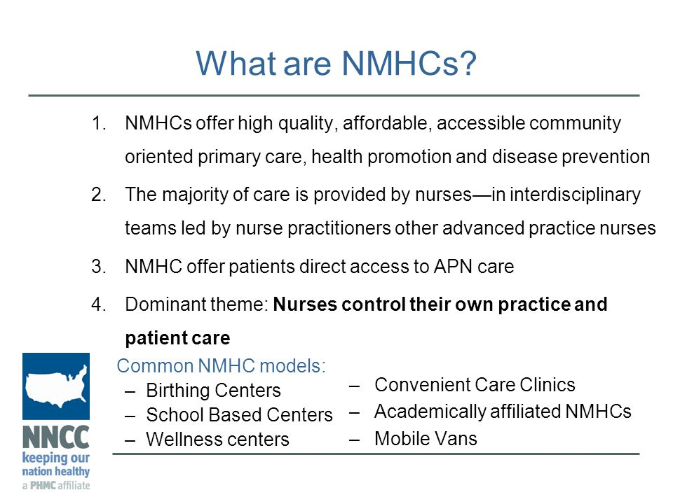 nurse managed health centers This study identified the metrics and methods that nurse-managed health centers (nmhcs) use to measure excellence in the areas of quality of care, clinical outcomes, and patient satisfaction measuring advance practice registered nurse outcomes is an important element to facilitate the movement toward equal.