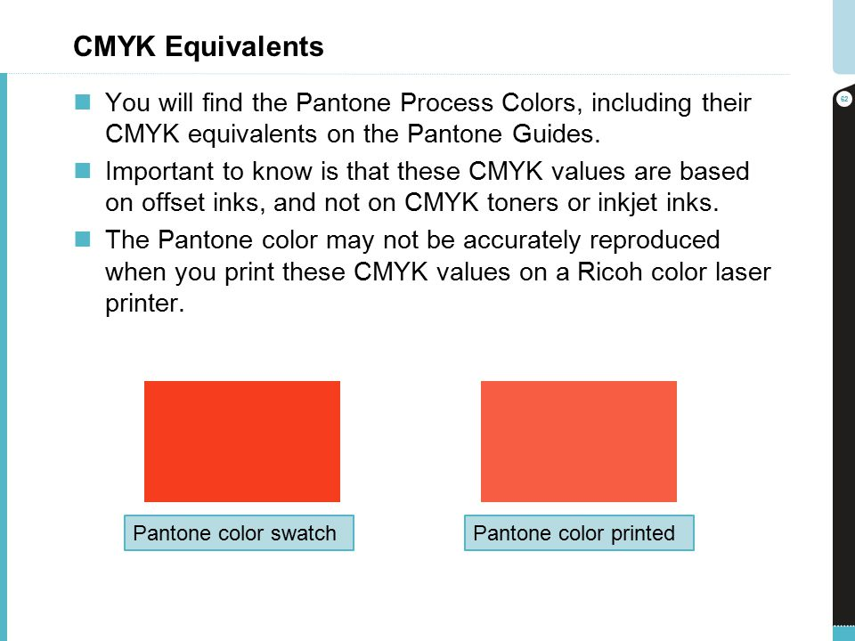 CMYK Equivalents You Will Find The Pantone Process Colors Including Their On
