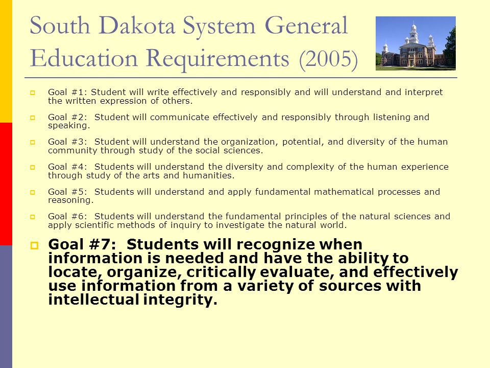 South Dakota System General Education Requirements (2005)