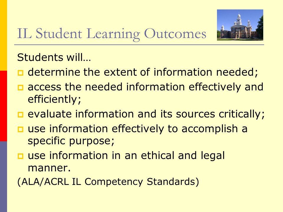 IL Student Learning Outcomes