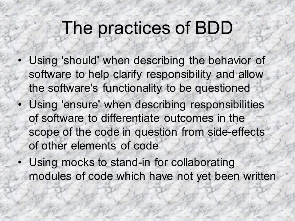 The practices of BDD