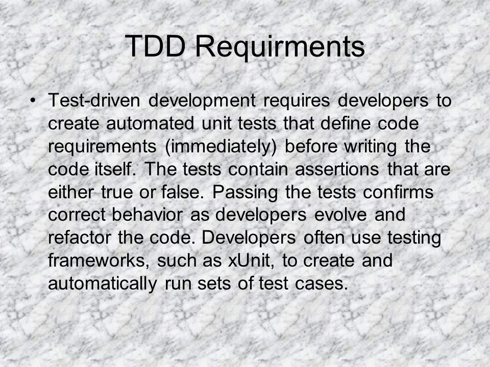 TDD Requirments