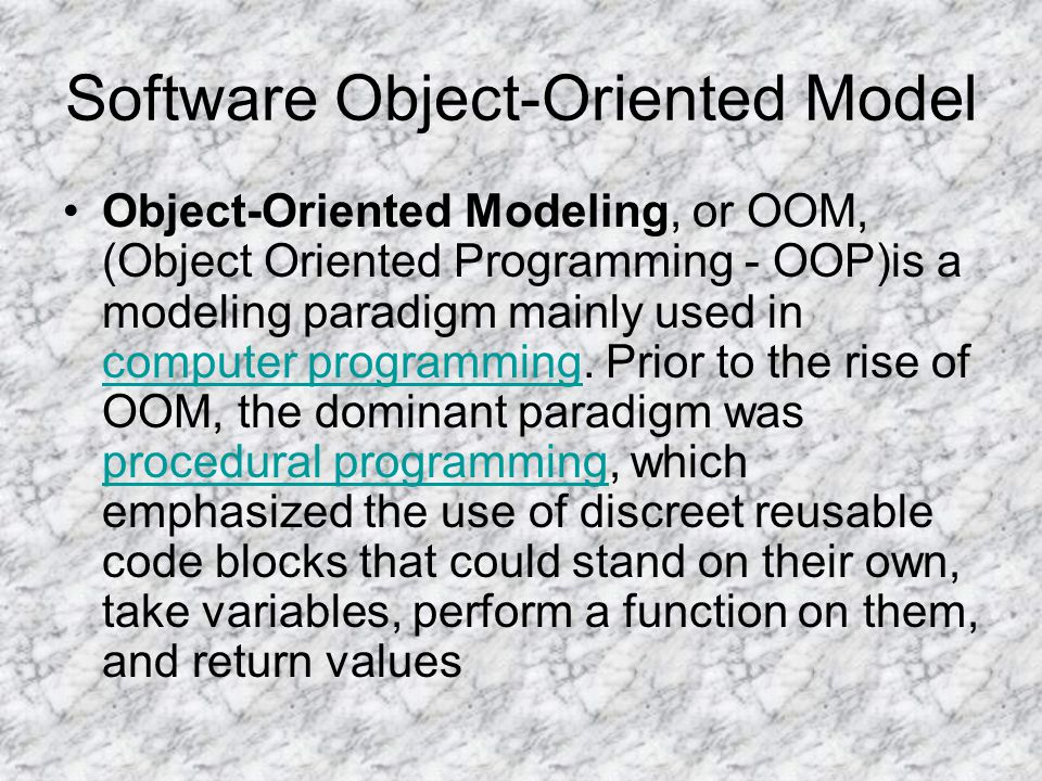 Software Object-Oriented Model