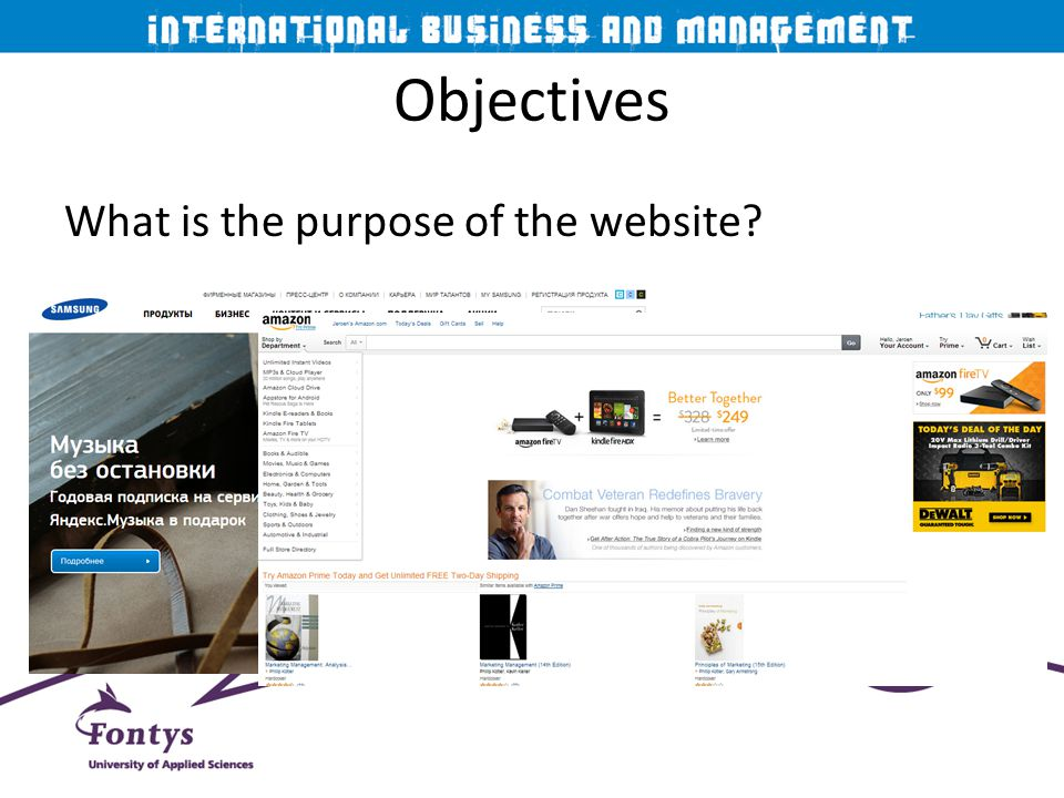 Objectives What is the purpose of the website