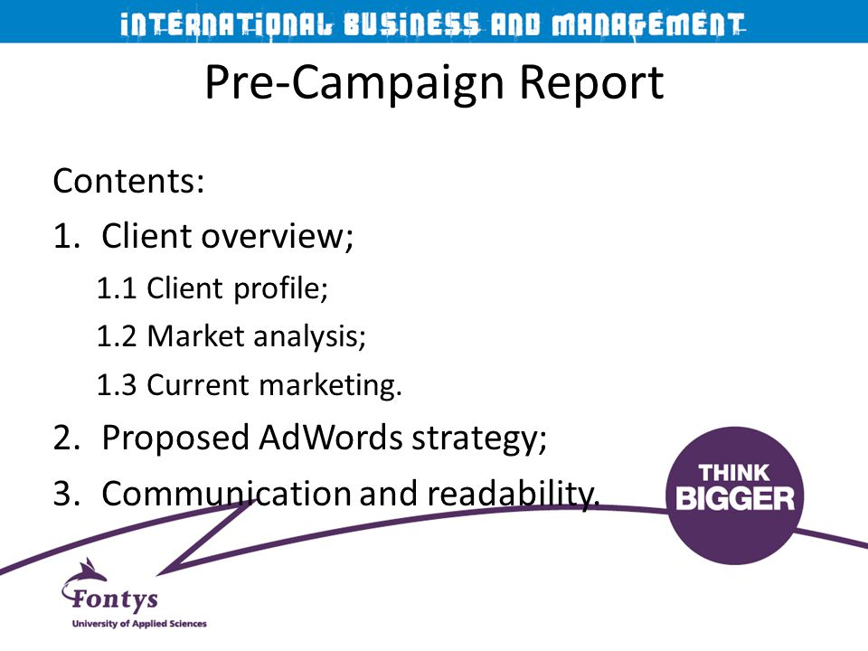 Pre-Campaign Report Contents: Client overview;