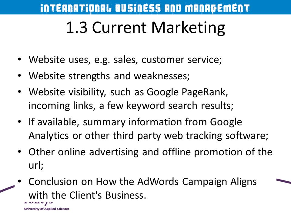 1.3 Current Marketing Website uses, e.g. sales, customer service;