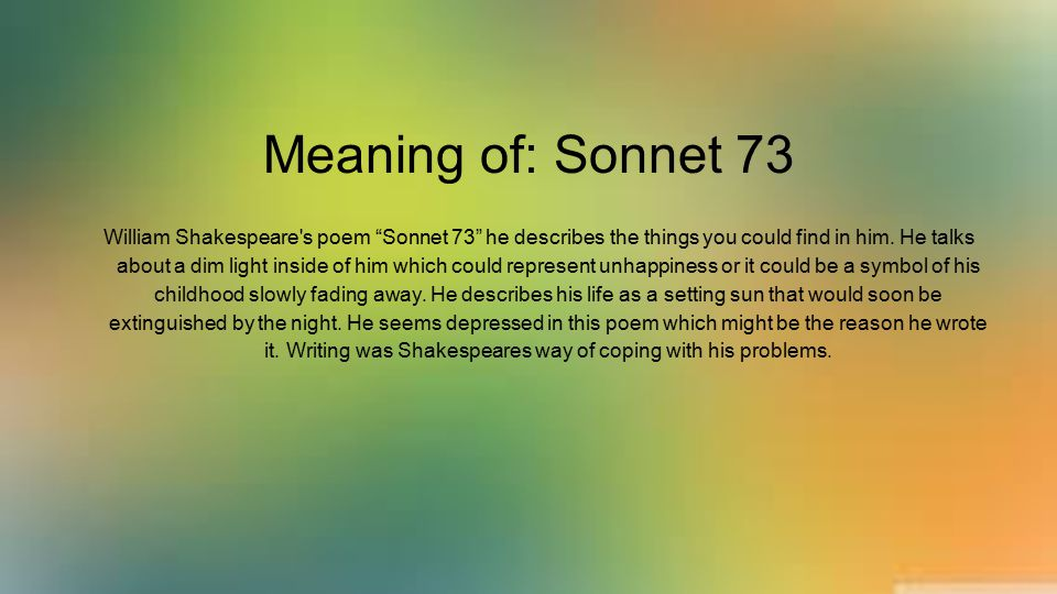 Meaning of: Sonnet 73