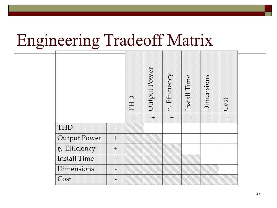 Trade off matrix systems engineering
