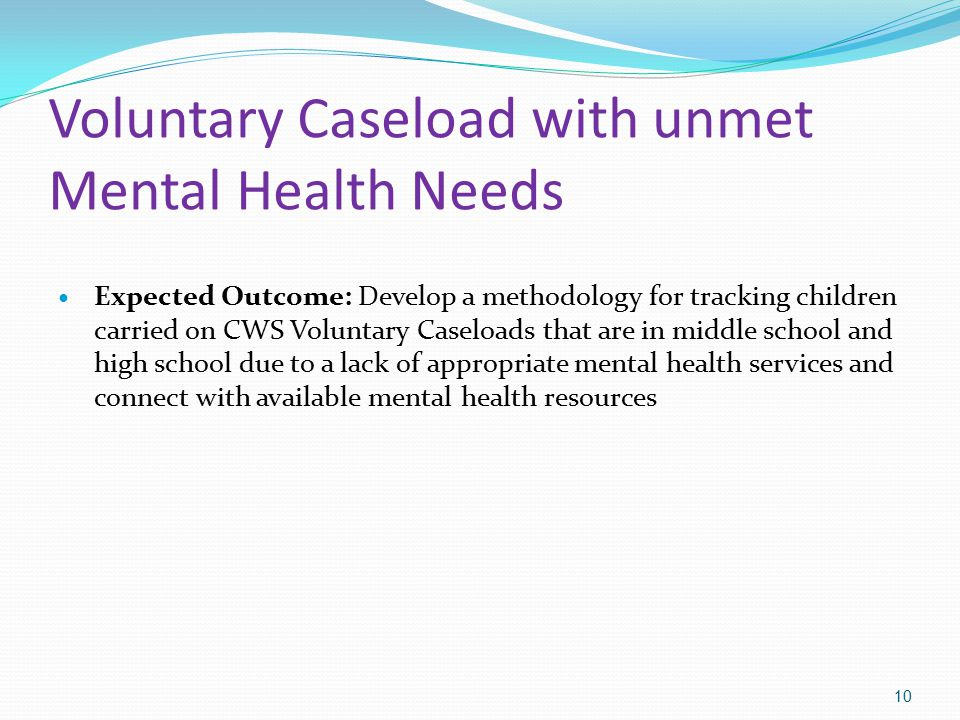 Voluntary Caseload with unmet Mental Health Needs