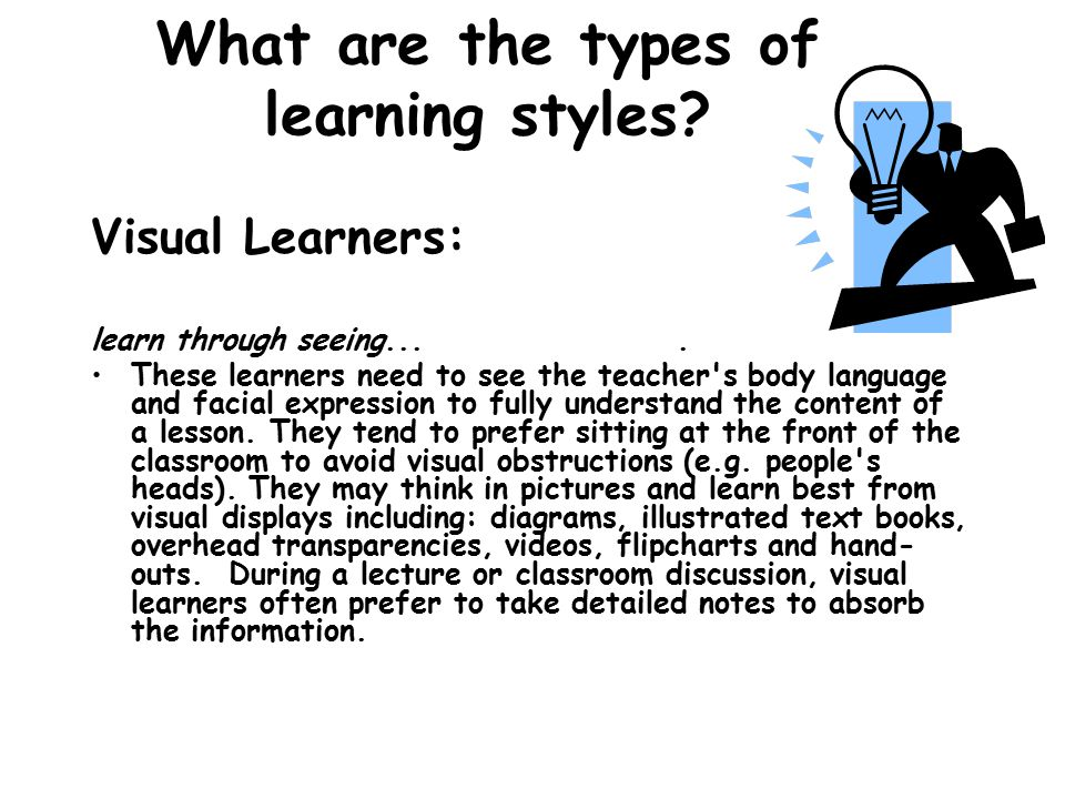 What are the types of learning styles