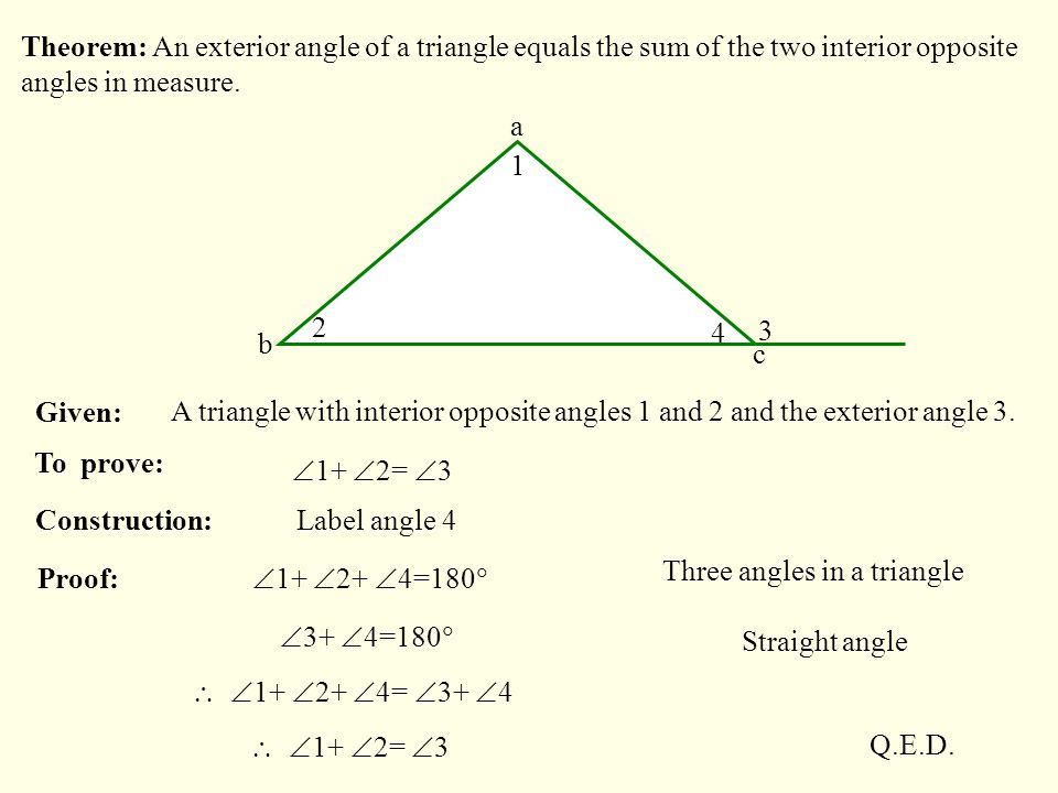 Menu select the class required then click mouse key to - Triangle exterior angle theorem proof ...
