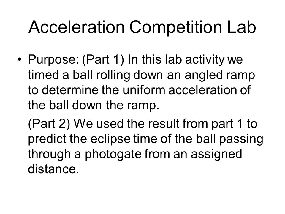 distance and acceleration relationship