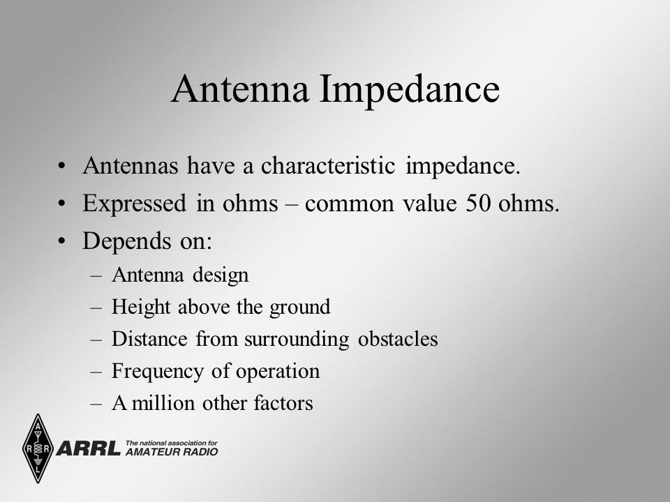 Antenna Impedance Antennas have a characteristic impedance.