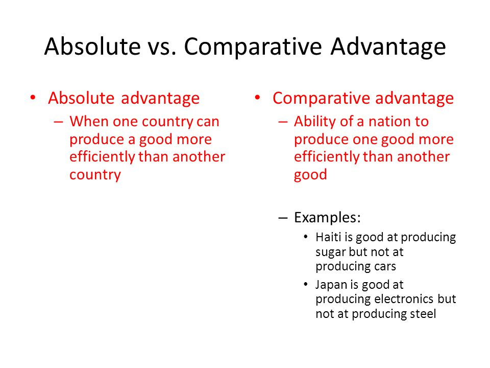 absolute advantage The absolute advantage theory is the belief that a nation will gain the most from producing products that take advantage of its most readily available resources it is believed that easier access to particular materials, skill sets, and other similar elements will make a country best suited for a specific kind of production.