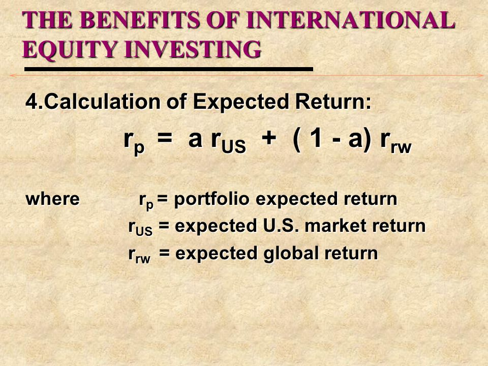 how to find expected return on market