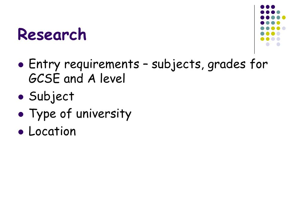 Research Entry requirements – subjects, grades for GCSE and A level
