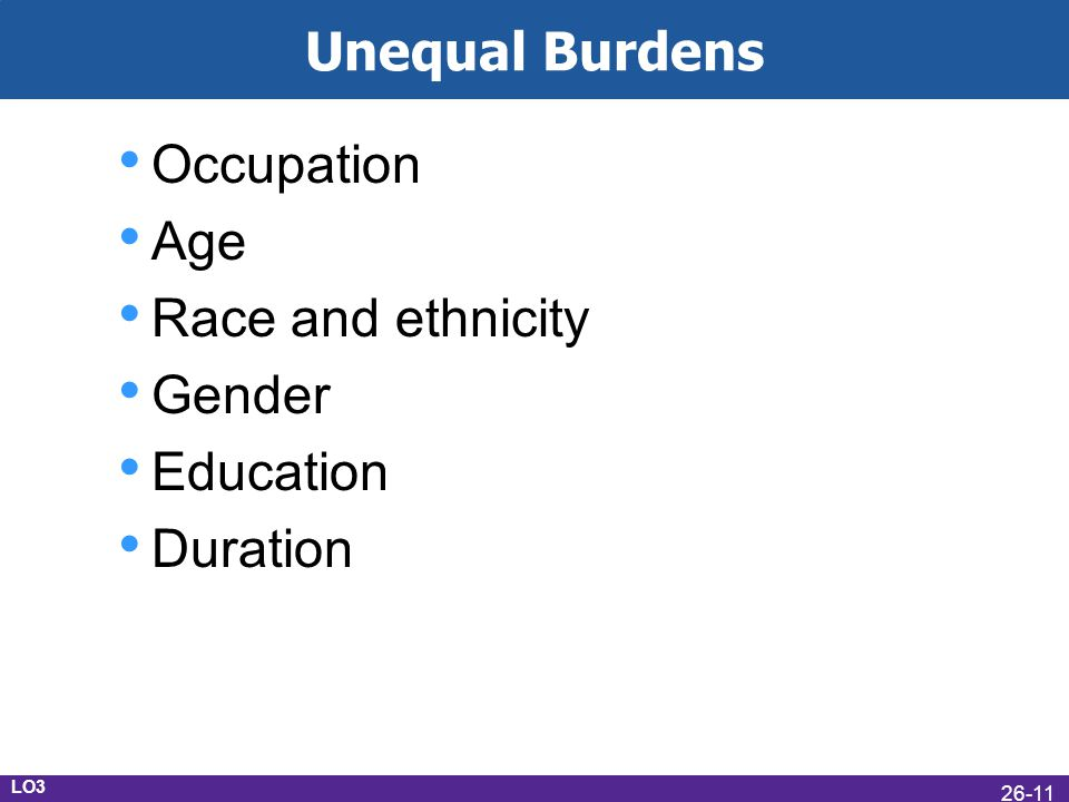 Unequal Burdens Occupation Age Race and ethnicity Gender Education