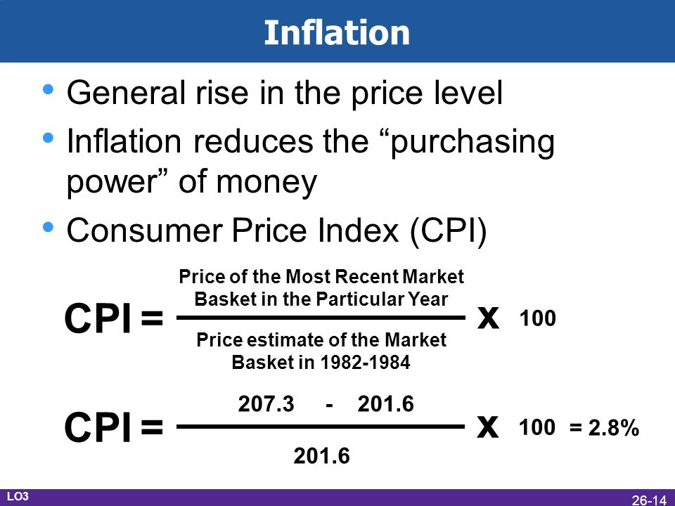 CPI = x CPI = x Inflation General rise in the price level