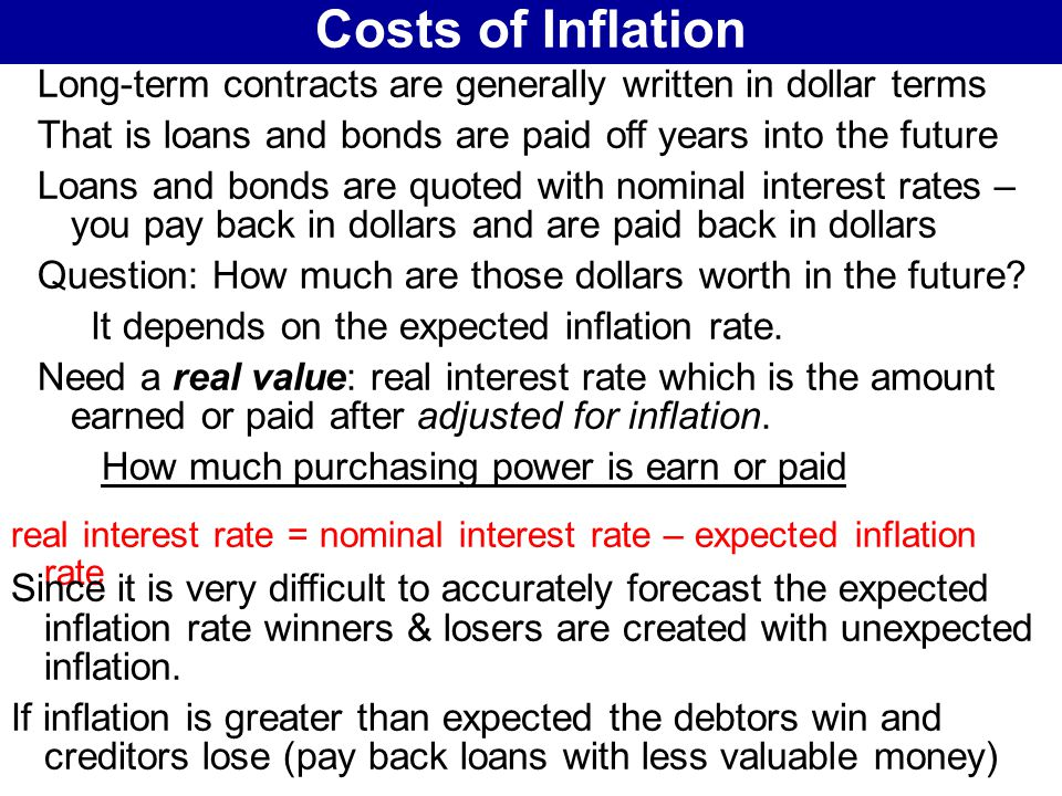 costs and benefits of inflation Cost inflation is inflation that is due to increased costs of inputs and the different factors of production, ie, motivated by the increased cost of labor that is, employers want to increase their share of benefits, for which.