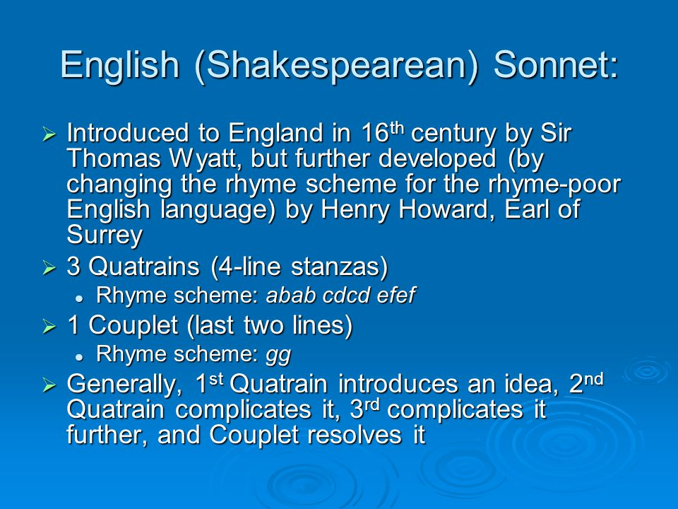English (Shakespearean) Sonnet: