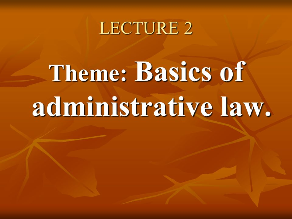 Theme: Basics of administrative law.