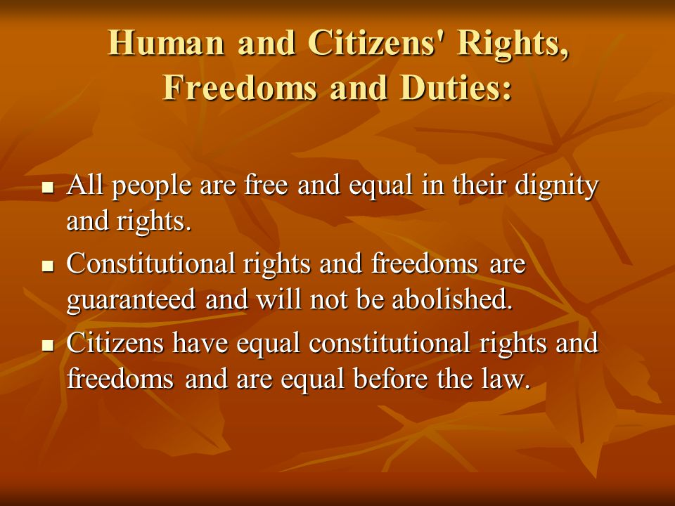 Human and Citizens Rights, Freedoms and Duties: