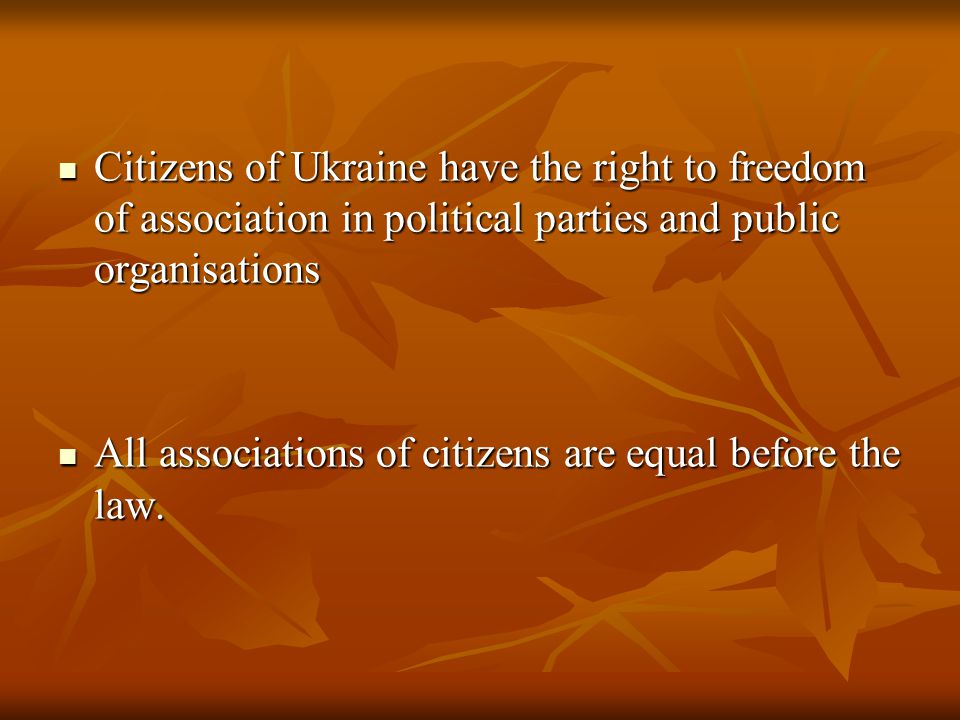 Citizens of Ukraine have the right to freedom of association in political parties and public organisations