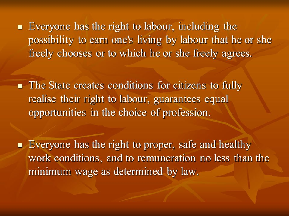 Everyone has the right to labour, including the possibility to earn one s living by labour that he or she freely chooses or to which he or she freely agrees.