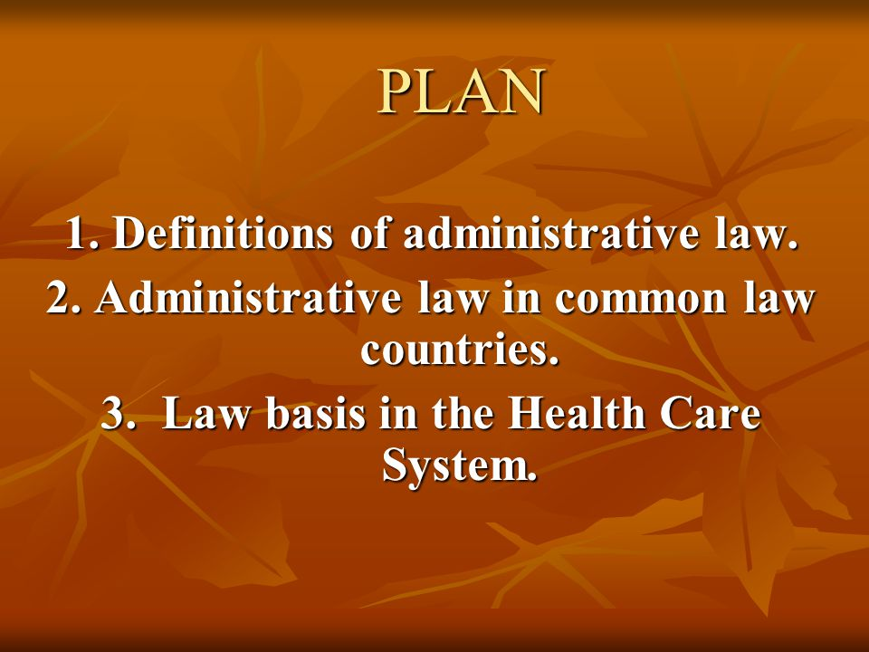 PLAN 1. Definitions of administrative law.