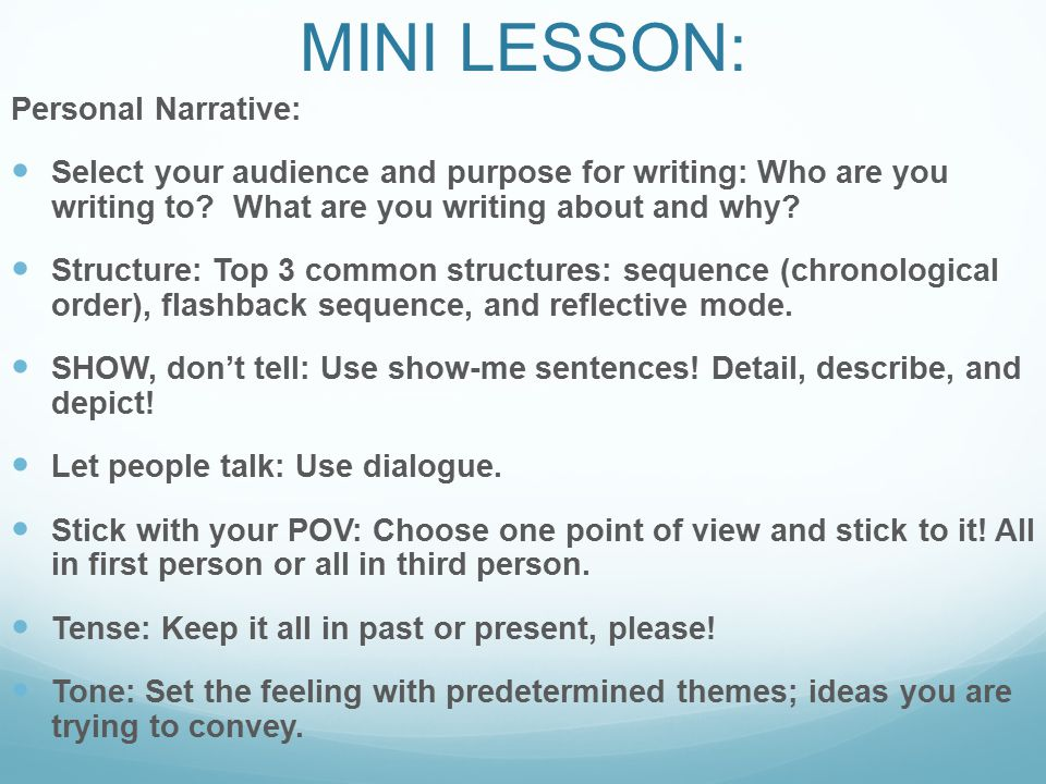 eq how do great writers publish a narrative essay ppt video  mini lesson personal narrative
