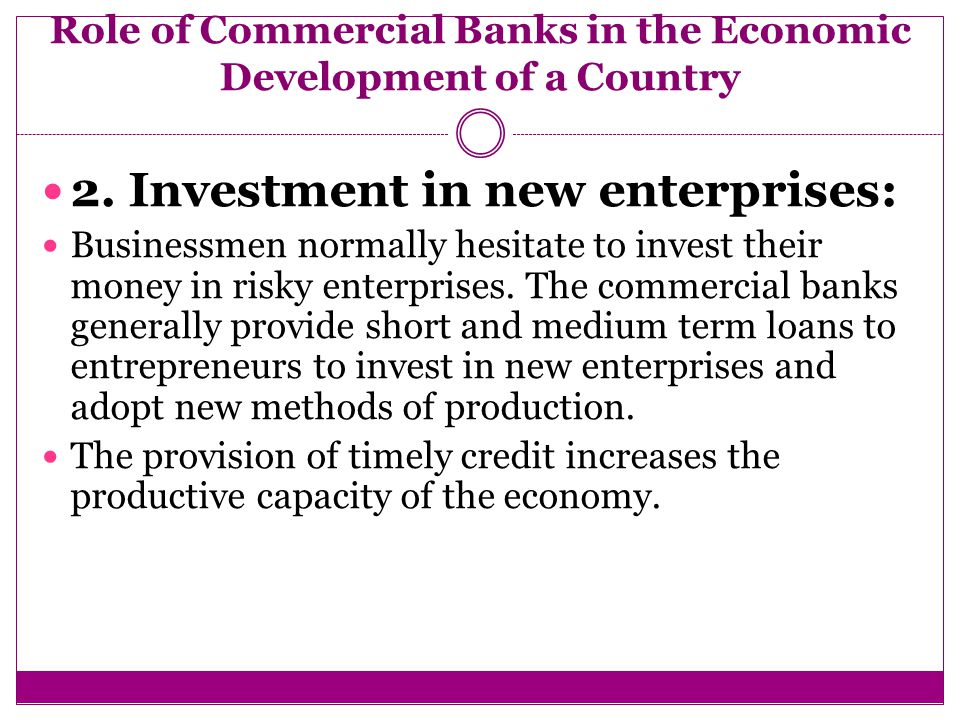 The Role of Commercial Banks in the Economy