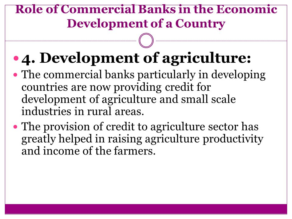 role of commercial banks in economic growth of a country Get free research paper on the role of commercial banks in economic development of nigeria our project topics and materials are suitable for students in nigeria with.