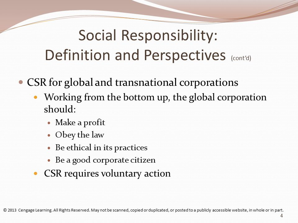 the definition and purpose of corporate social responsibility in the economic ethical humanitarian a The starbucks mission statement reflects the values of corporate social responsibility  ethical sourcing.