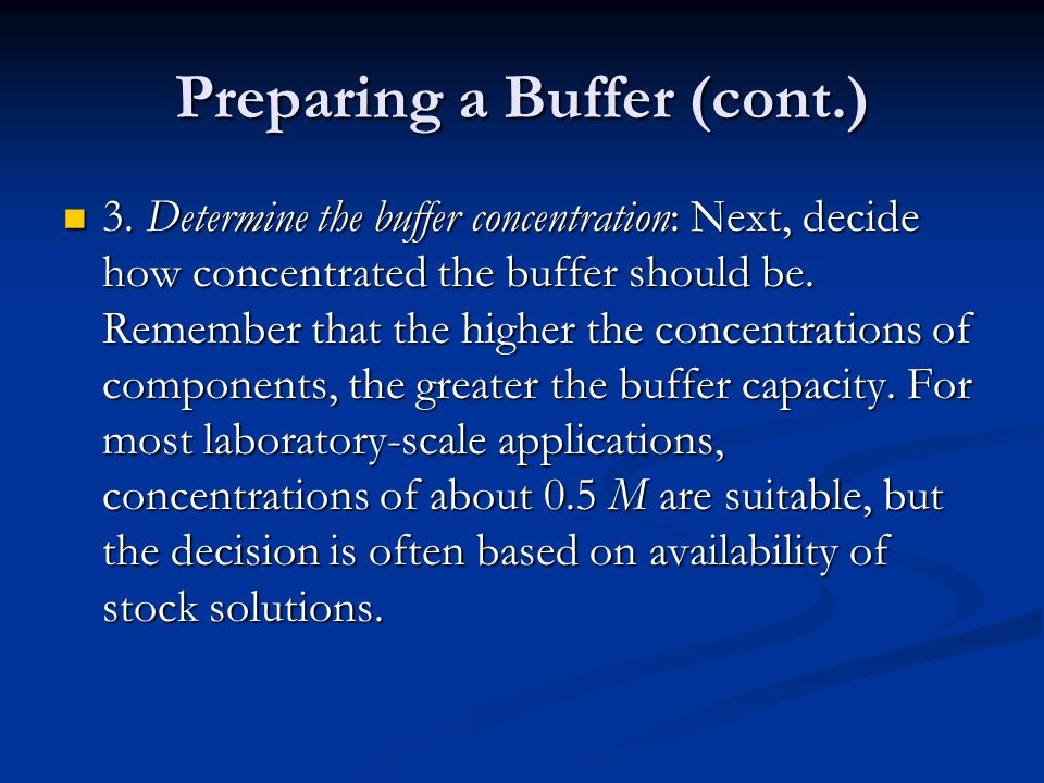 how to make a buffer from stock solution