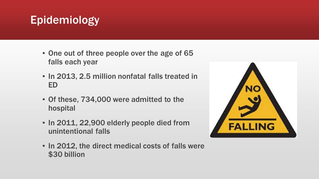 Epidemiology One out of three people over the age of 65 falls each year. In 2013, 2.5 million nonfatal falls treated in ED.