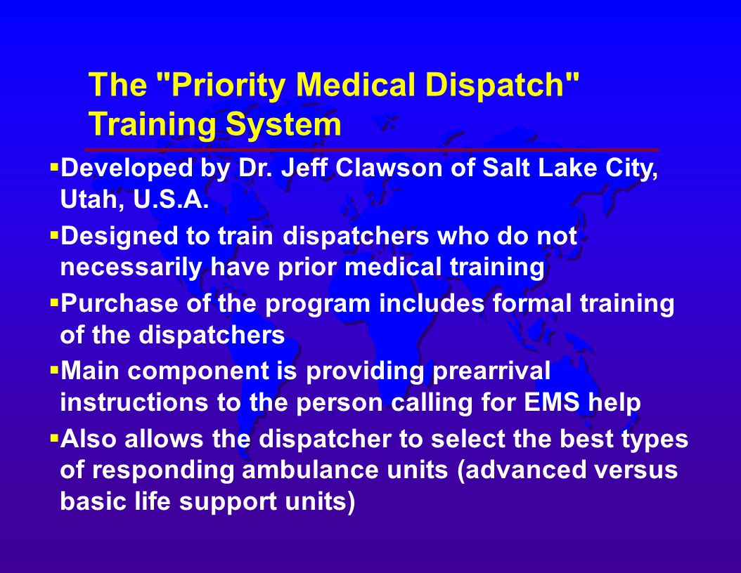 Medical dispatching systems for emergency medical services ems the priority medical dispatch training system xflitez Images