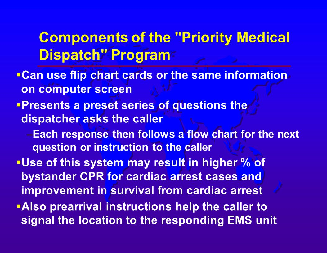 Medical dispatching systems for emergency medical services ems components of the priority medical dispatch program 1betcityfo Gallery