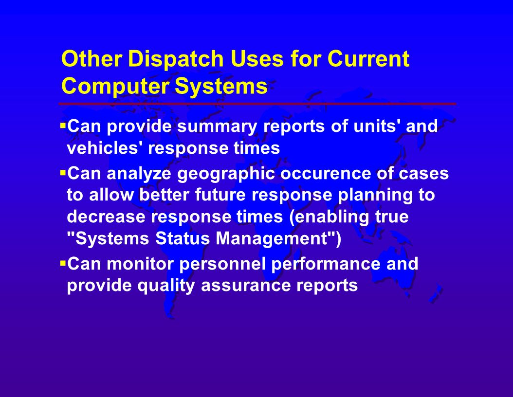 dispatch system in other countries Laws in the united states and other countries preserve for motorola certain exclusive rights for copyrighted computer programs accordingly, any copyrighted motorola computer programs contained in the motorola products described in this document may not be copied or reproduced in any manner without the express written permission of.