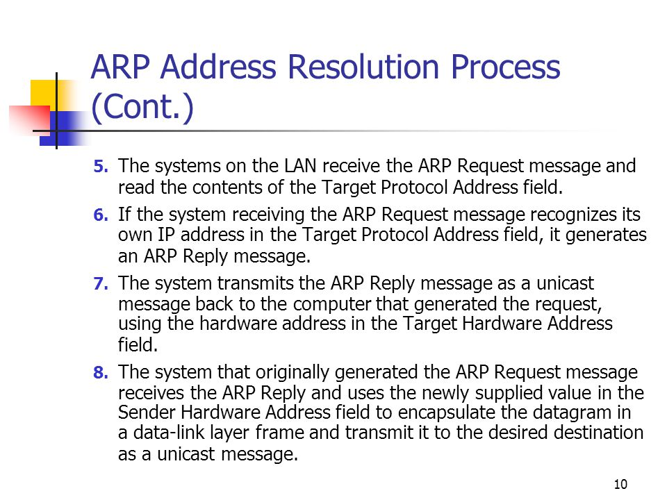 ARP Address Resolution Process (Cont.)