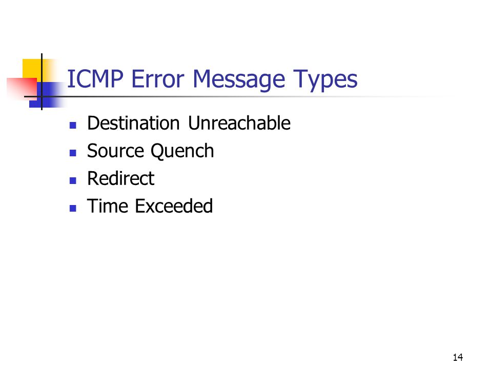ICMP Error Message Types