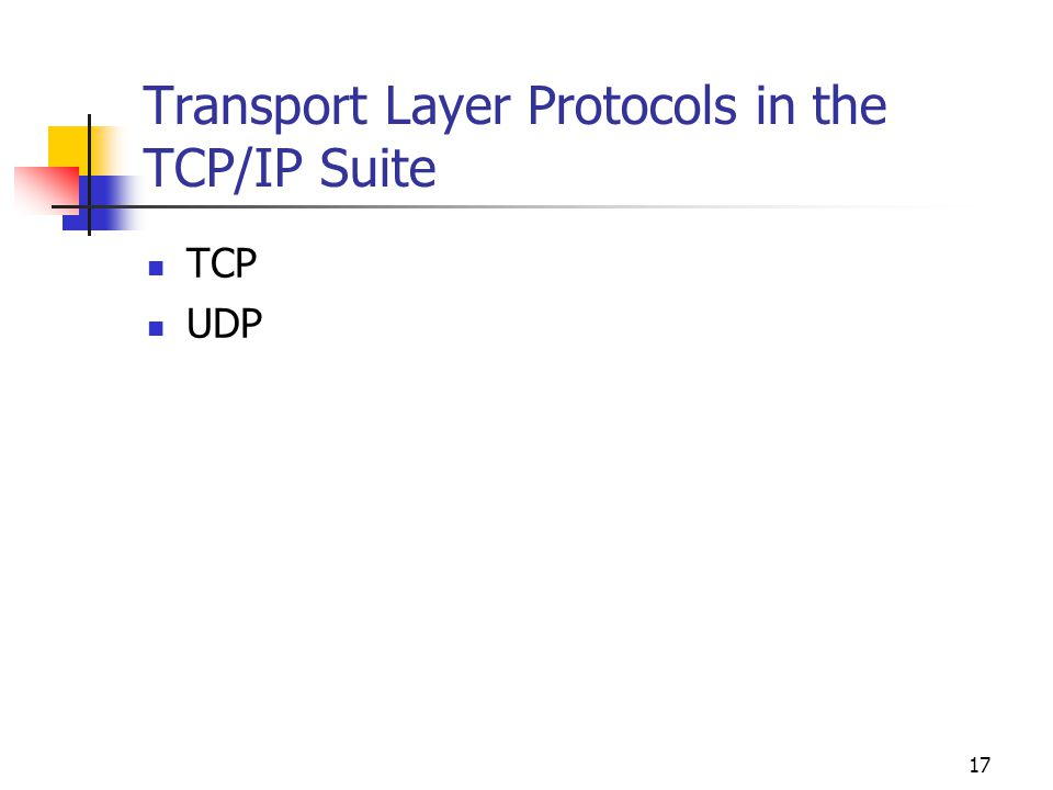 Transport Layer Protocols in the TCP/IP Suite