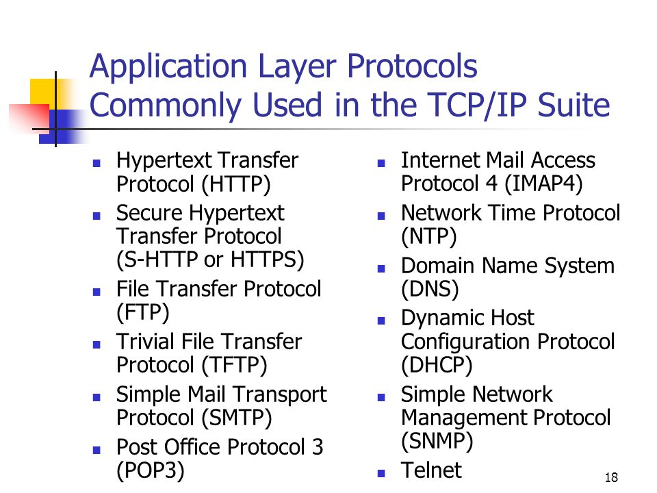 Application Layer Protocols Commonly Used in the TCP/IP Suite