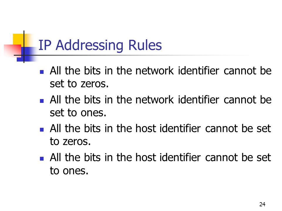 IP Addressing Rules All the bits in the network identifier cannot be set to zeros. All the bits in the network identifier cannot be set to ones.