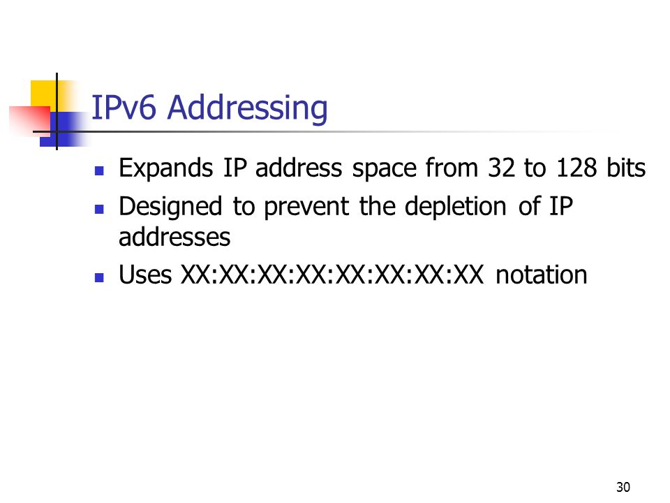 IPv6 Addressing Expands IP address space from 32 to 128 bits