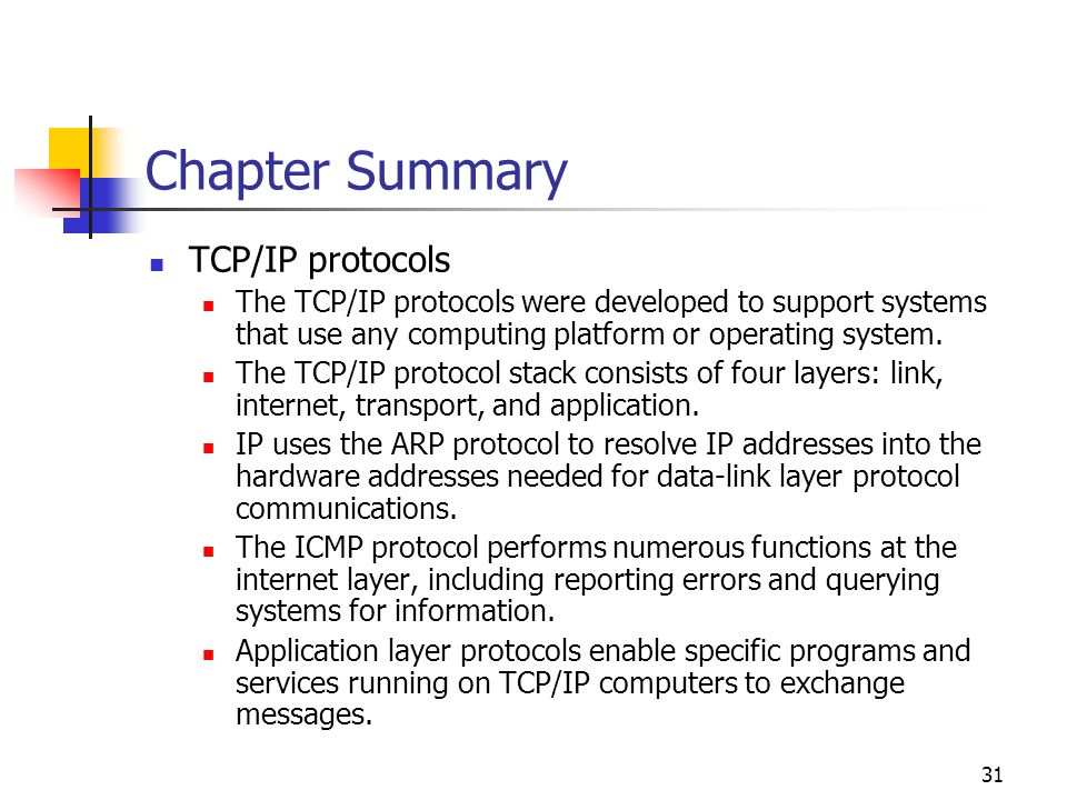 Chapter Summary TCP/IP protocols